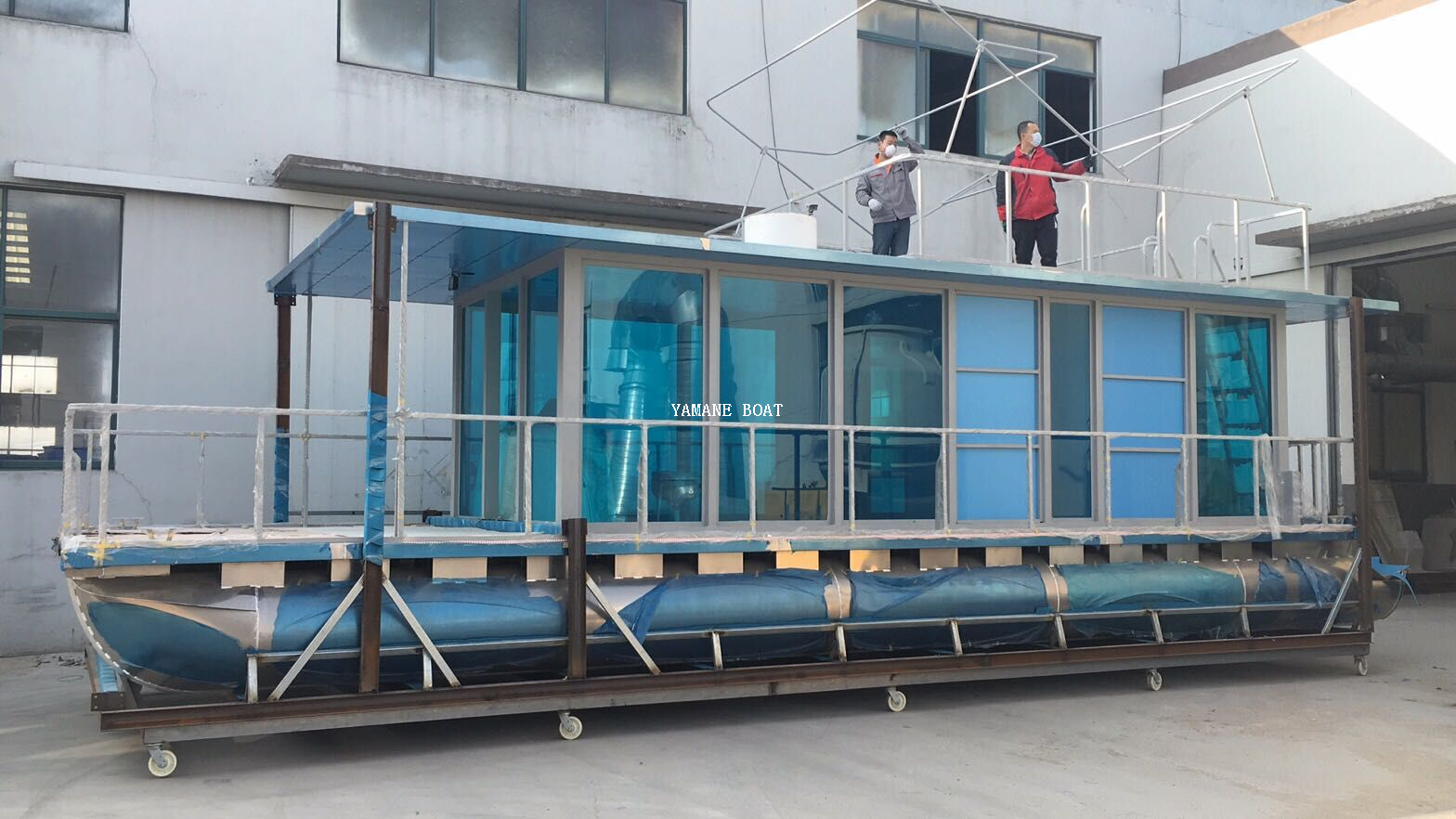11m Aluminum Pontoon House Boat on Water for Restaurant